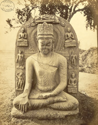 Sculptured figure of crowned Buddha, in bhumisparsa mudra, surrounded by seven other great events, at Ghenjam, near Kispa